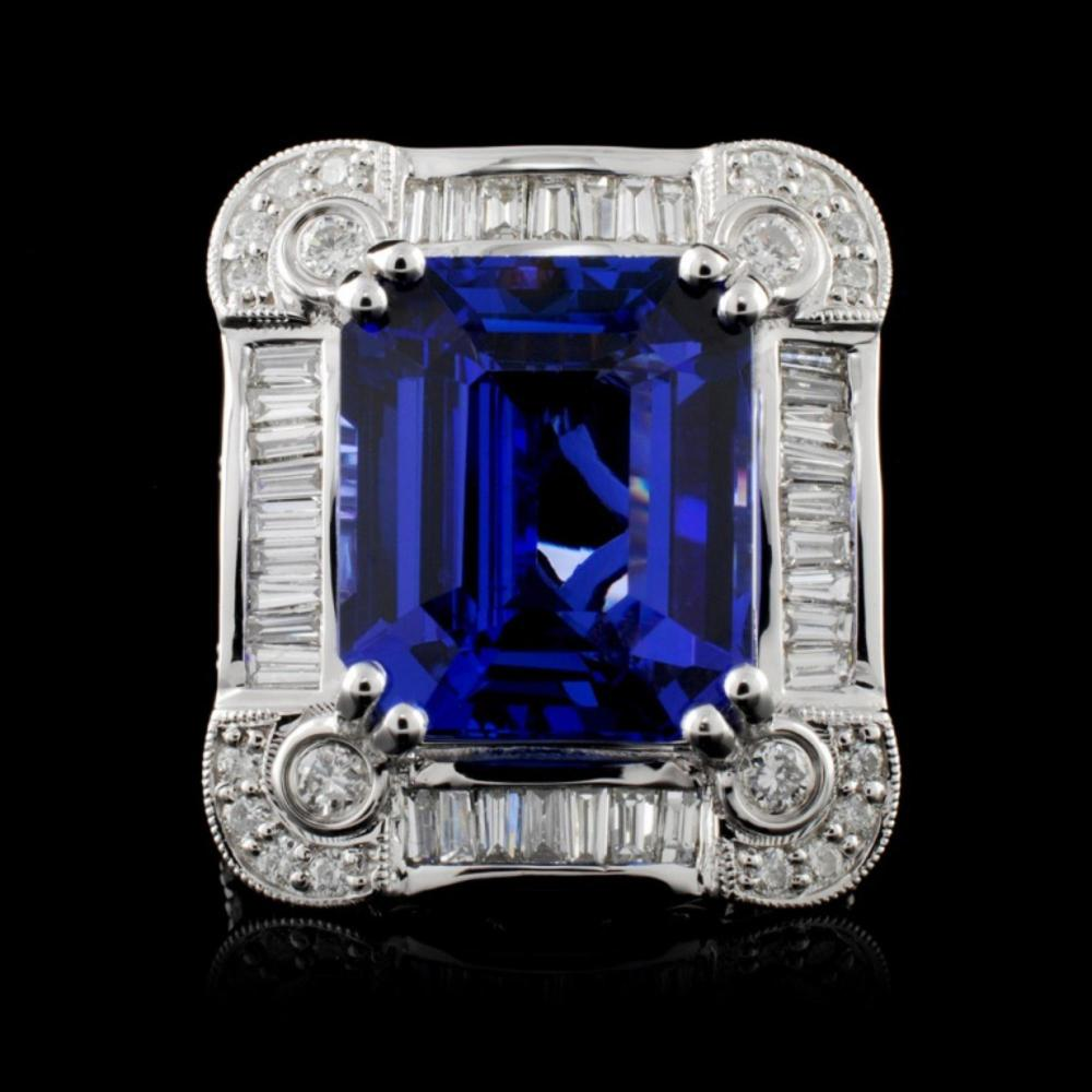 18K Gold 10.71ct Tanzanite & 1.70ctw Diamond Ring