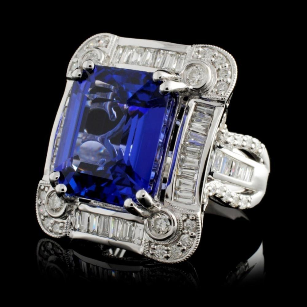 Lot 77: 18K Gold 10.71ct Tanzanite & 1.70ctw Diamond Ring