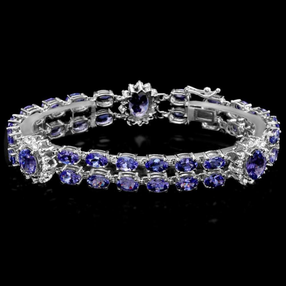 `14k Gold 21.00ct Tanzanite & 1.55ct Diamond Brace