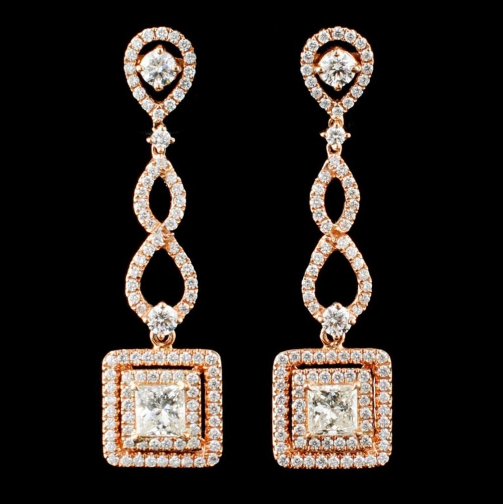 18K Rose Gold 2.58ctw Diamond Earrings