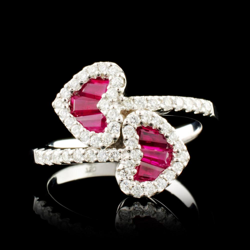 18K Gold 0.68ct Ruby & 0.48ctw Diamond Ring