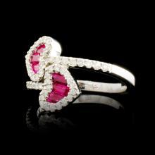 Lot 81: 18K Gold 0.68ct Ruby & 0.48ctw Diamond Ring