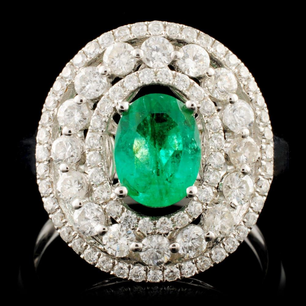 18K Gold 0.66ct Emerald & 1.02ctw Diamond Ring