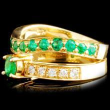 Lot 85: 18K Gold 0.73ctw Emerald & 0.20ctw Diamond Ring
