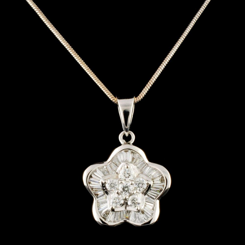 18K Gold 1.00ctw Diamond Pendant