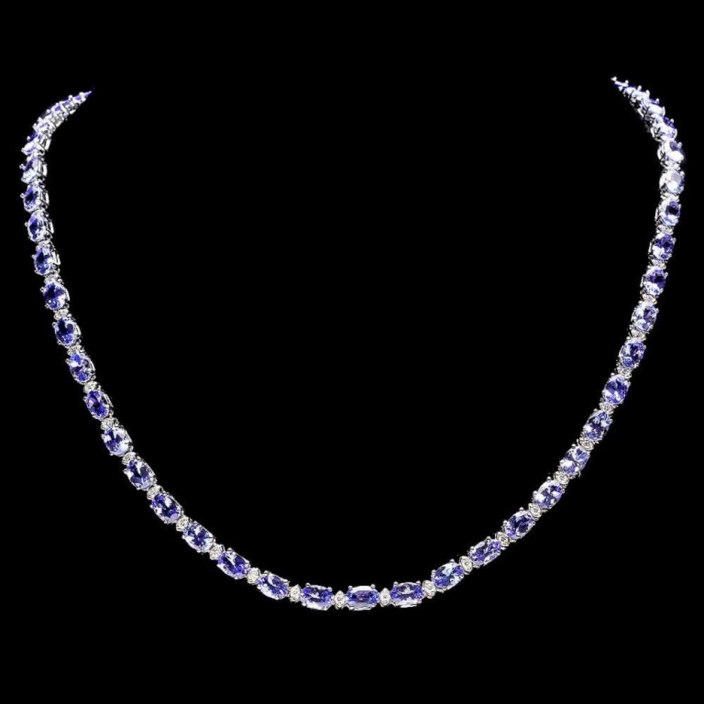 `14k Gold 23.00ct Tanzanite & 1.00ct Diamond Neckl
