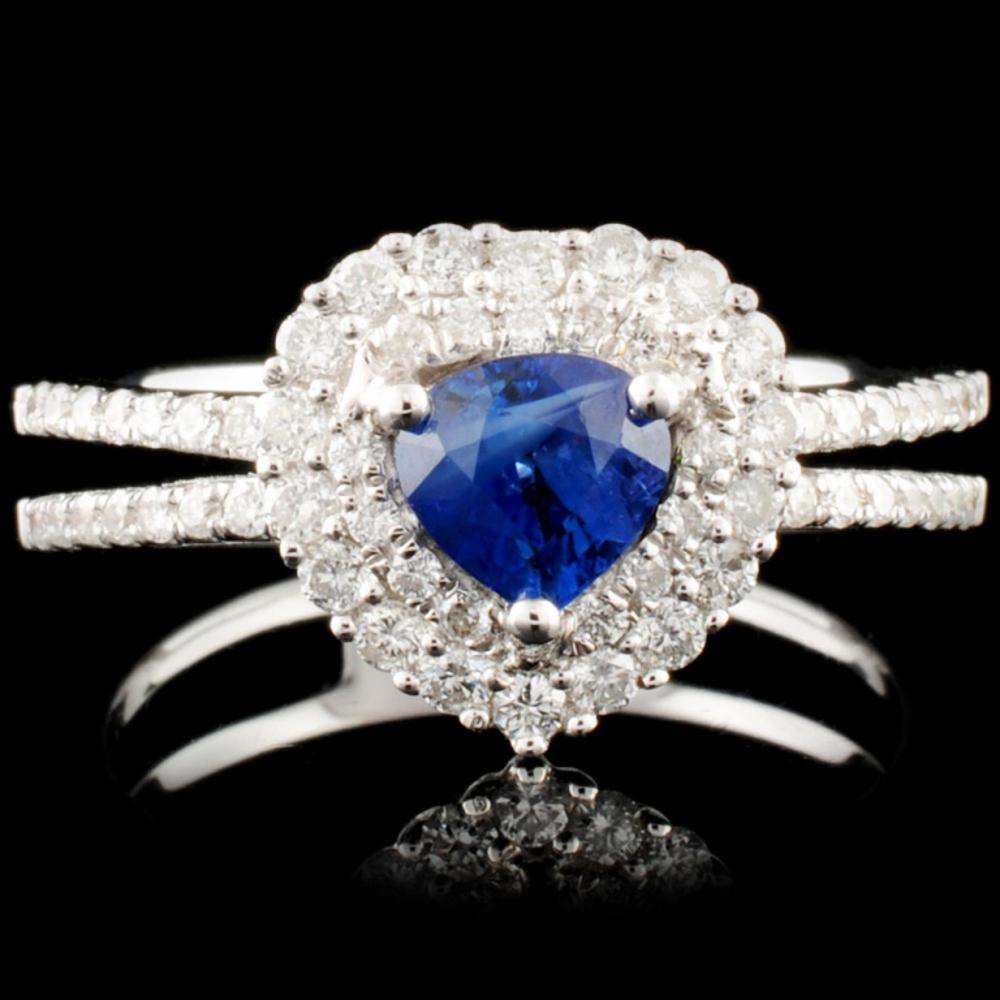Lot 93: 18K Gold 0.66ct Sapphire & 0.45ctw Diamond Ring