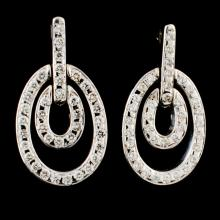 Lot 94: 18K Gold 0.96ctw Diamond Earrings
