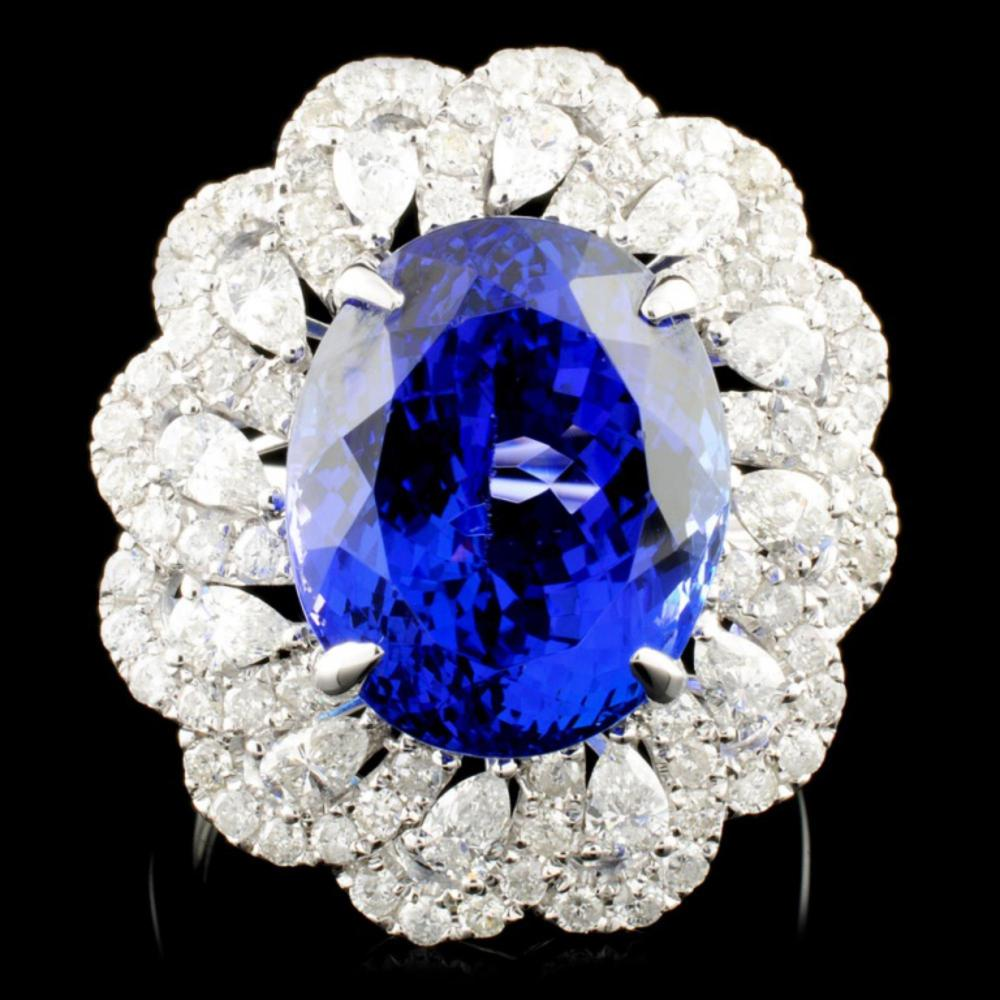 18K Gold 10.73ct Tanzanite & 1.67ctw Diamond Ring