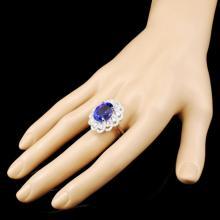 Lot 97: 18K Gold 10.73ct Tanzanite & 1.67ctw Diamond Ring