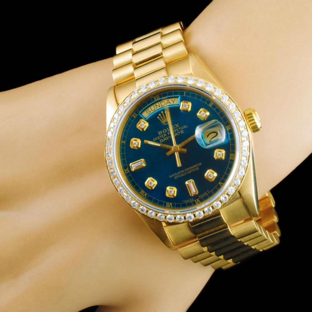 Lot 99: Rolex Day-Date 18K YG Diamond 36mm Wristwatch