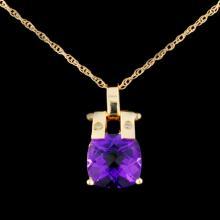 Lot 100: 14K Gold 3.50ct Amethyst & 0.03ctw Diamond Pendant