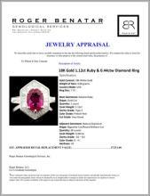 Lot 103: 18K Gold 1.12ct Ruby & 0.44ctw Diamond Ring