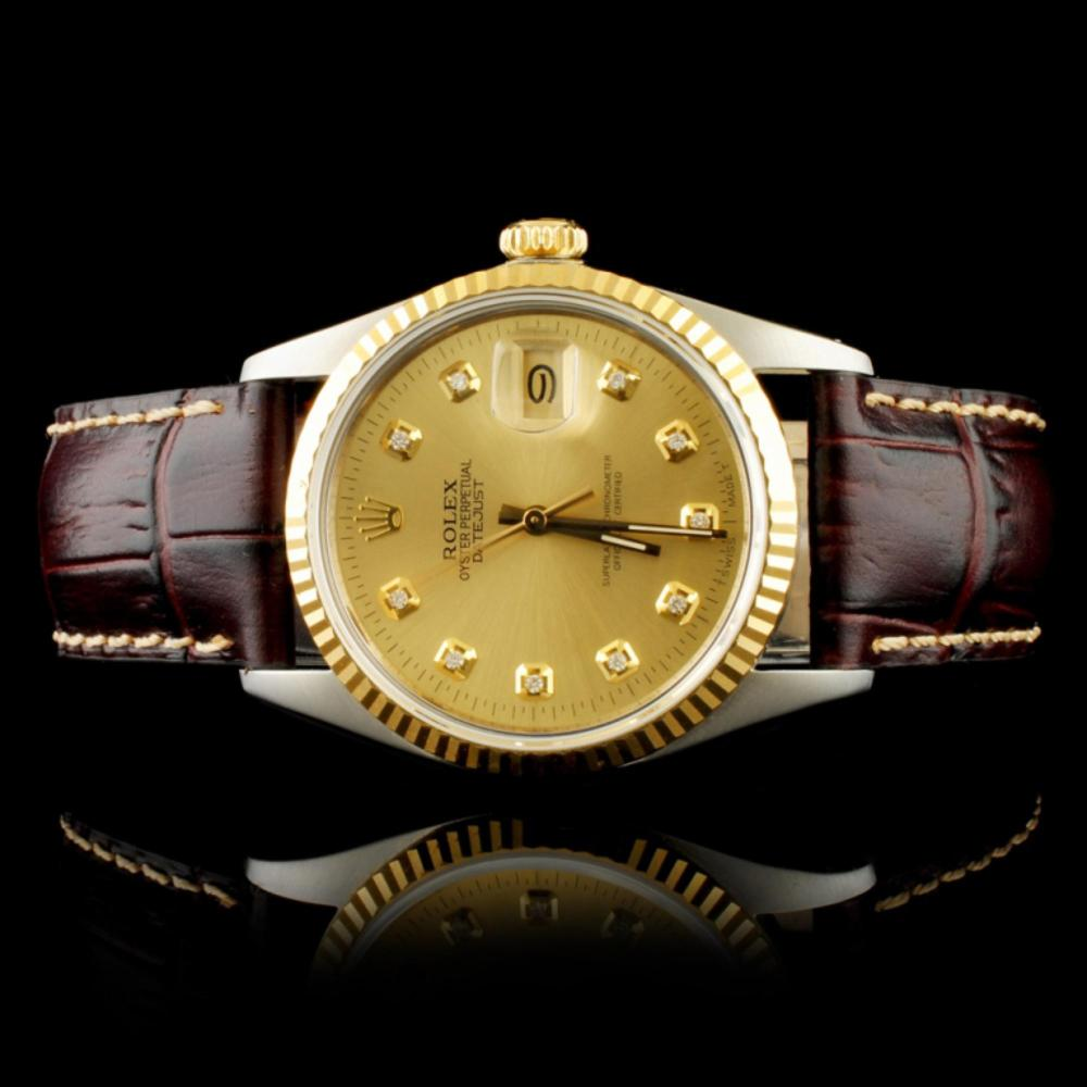 Rolex DateJust YG/SS Diamond Champagne 36MM Watch