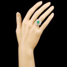 Lot 111: 18K Gold 1.03ct Emerald & 0.81ctw Diamond Ring