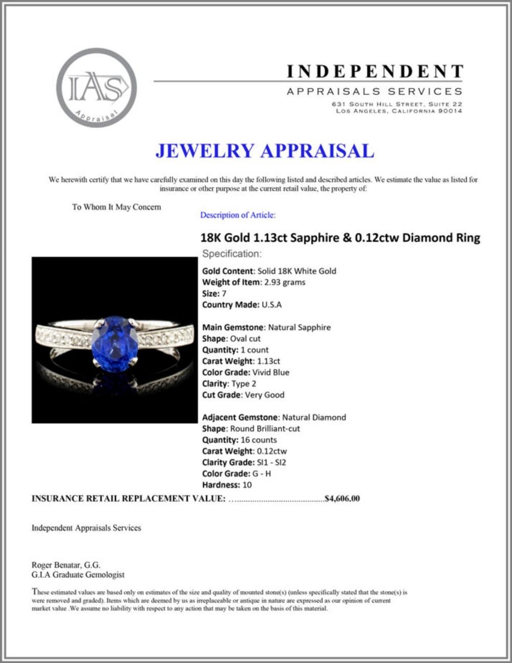 Lot 113: 18K Gold 1.13ct Sapphire & 0.12ctw Diamond Ring