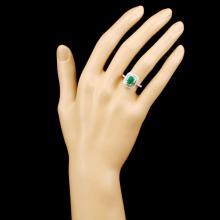 Lot 121: 18K Gold 1.00ct Emerald & 0.72ctw Diamond Ring
