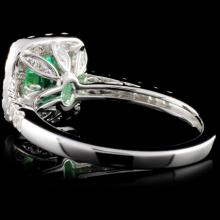 Lot 123: 18K Gold 1.14ct Emerald & 0.81ct Diamond Ring