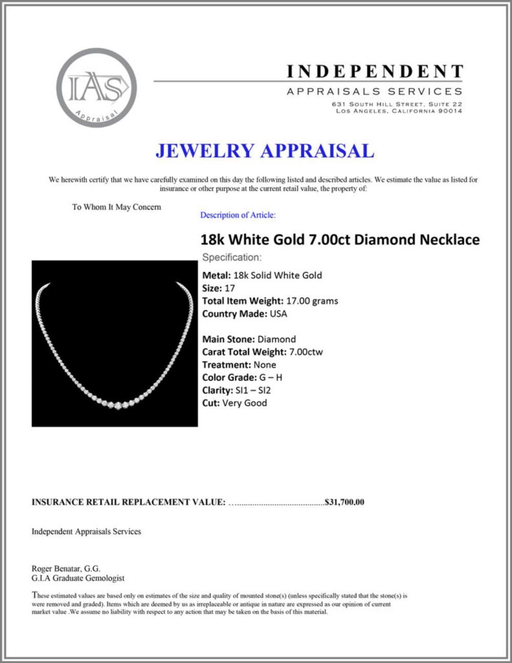 Lot 128: ^18k White Gold 7.00ct Diamond Necklace