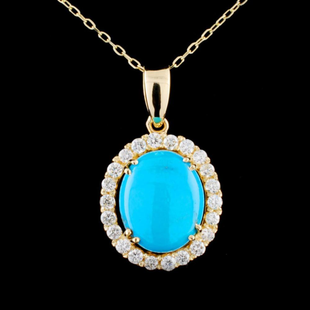 14K Gold 3.07ct Turquoise & 0.52ctw Diamond Pendan
