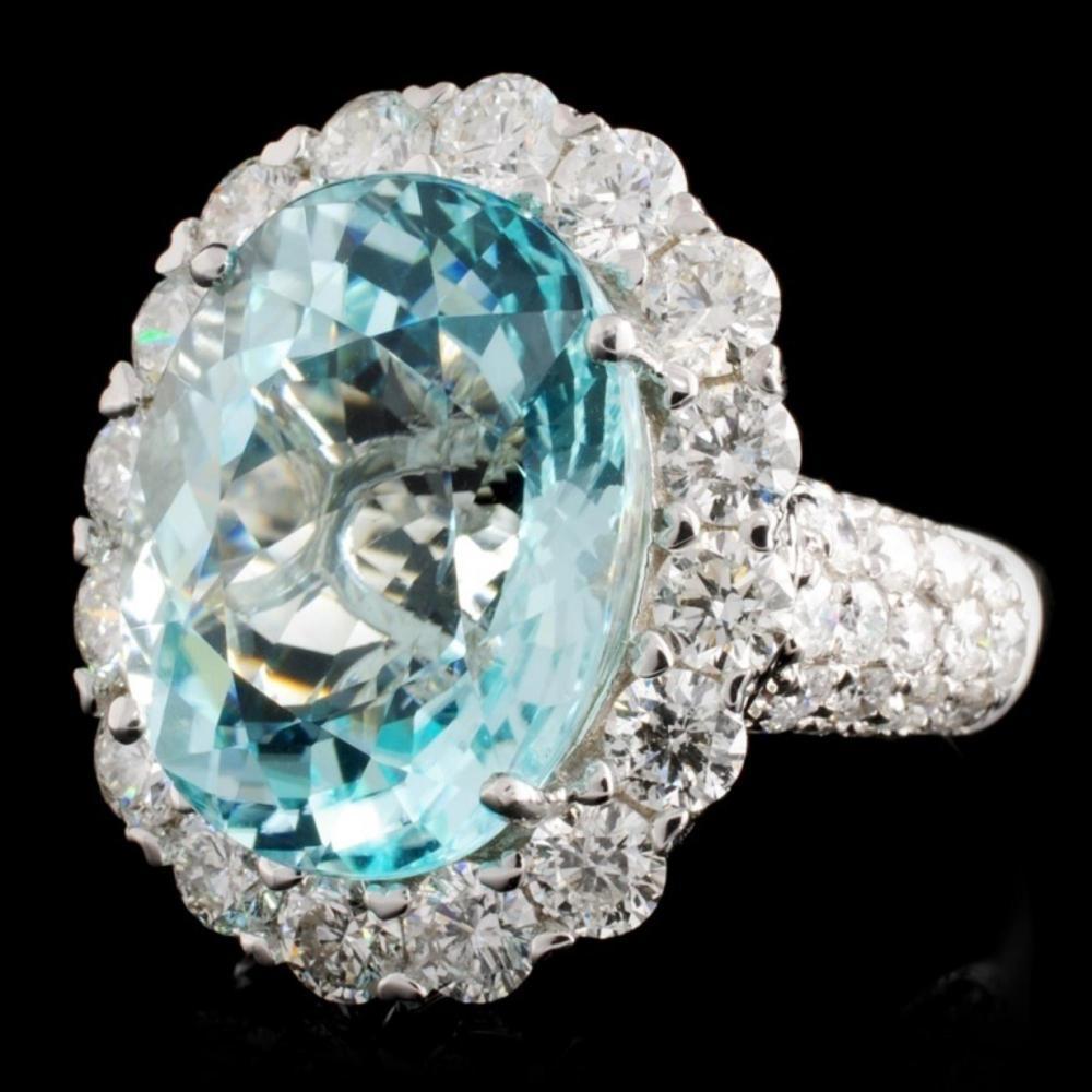 Lot 137: 18K Gold 10.14ct Tourmaline & 2.71ct Diamond Ring