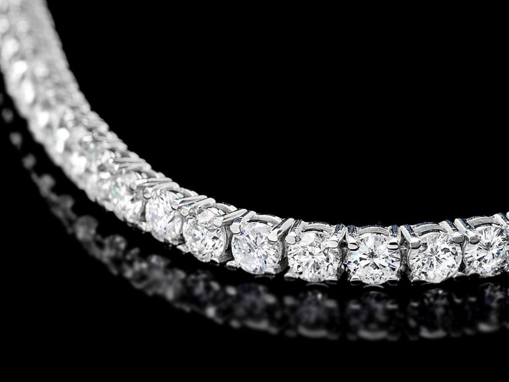 Lot 138: ^18k White Gold 7.45ct Diamond Bracelet