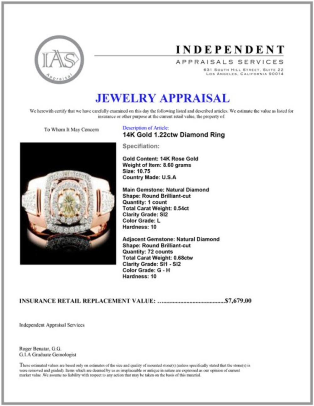 Lot 140: 14K Gold 1.22ctw Diamond Ring