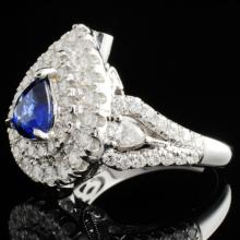 Lot 143: 18K Gold 1.10ct Sapphire & 1.43ct Diamond Ring