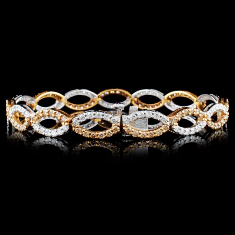 Lot 144: 14K Gold 3.88ctw Fancy Diamond Bracelet