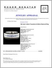 Lot 145: 18K Gold 1.20ctw Tanzanite & 0.50ctw Diamond Ring