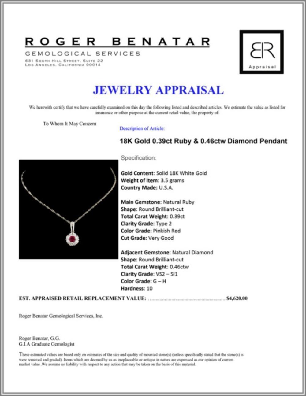 Lot 146: 18K Gold 0.39ct Ruby & 0.46ctw Diamond Pendant