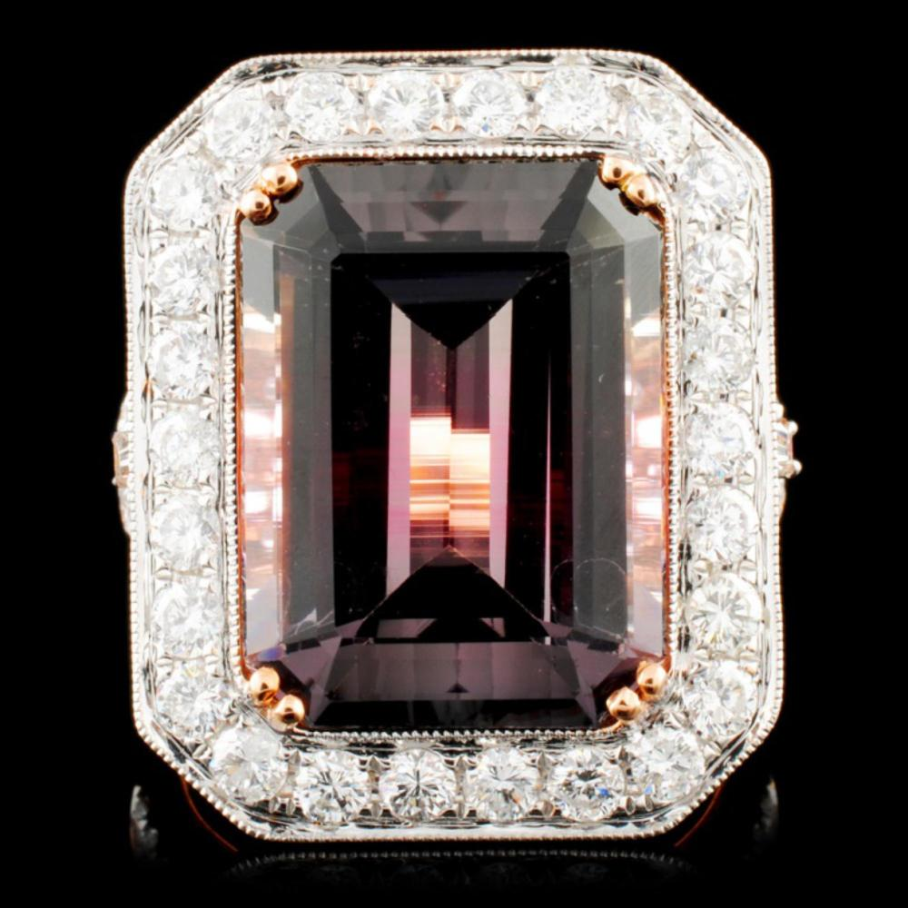 18K Gold 10.78ct Tourmaline & 1.47ctw Diamond Ring