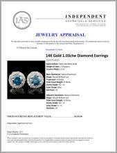 Lot 150: 14K Gold 1.03ctw Diamond Earrings