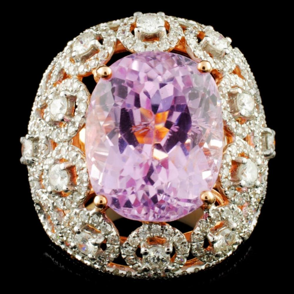 18K Gold 15.22ct Kunzite & 2.54ctw Diamond Ring