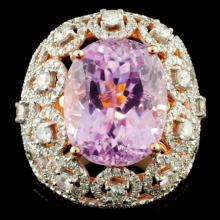 Lot 153: 18K Gold 15.22ct Kunzite & 2.54ctw Diamond Ring