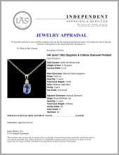 Lot 156: 14K Gold 1.00ct Sapphire & 0.06ctw Diamond Pendant