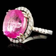Lot 157: 18K Gold 10.87ct Tourmaline & 0.75ctw Diamond Ring