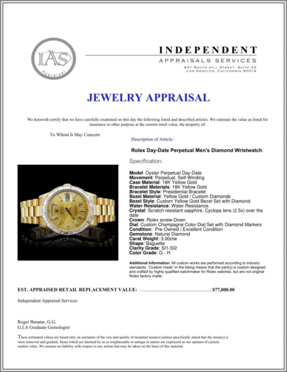 Lot 159: Rolex Day-Date Diamond 36mm Wristwatch