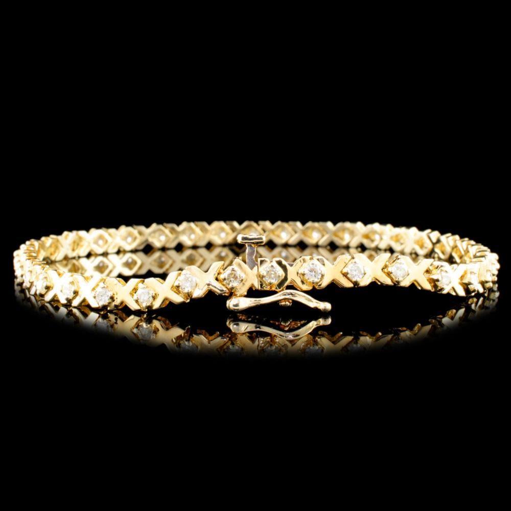 Lot 160: 14K Gold 1.00ctw Diamond Bracelet