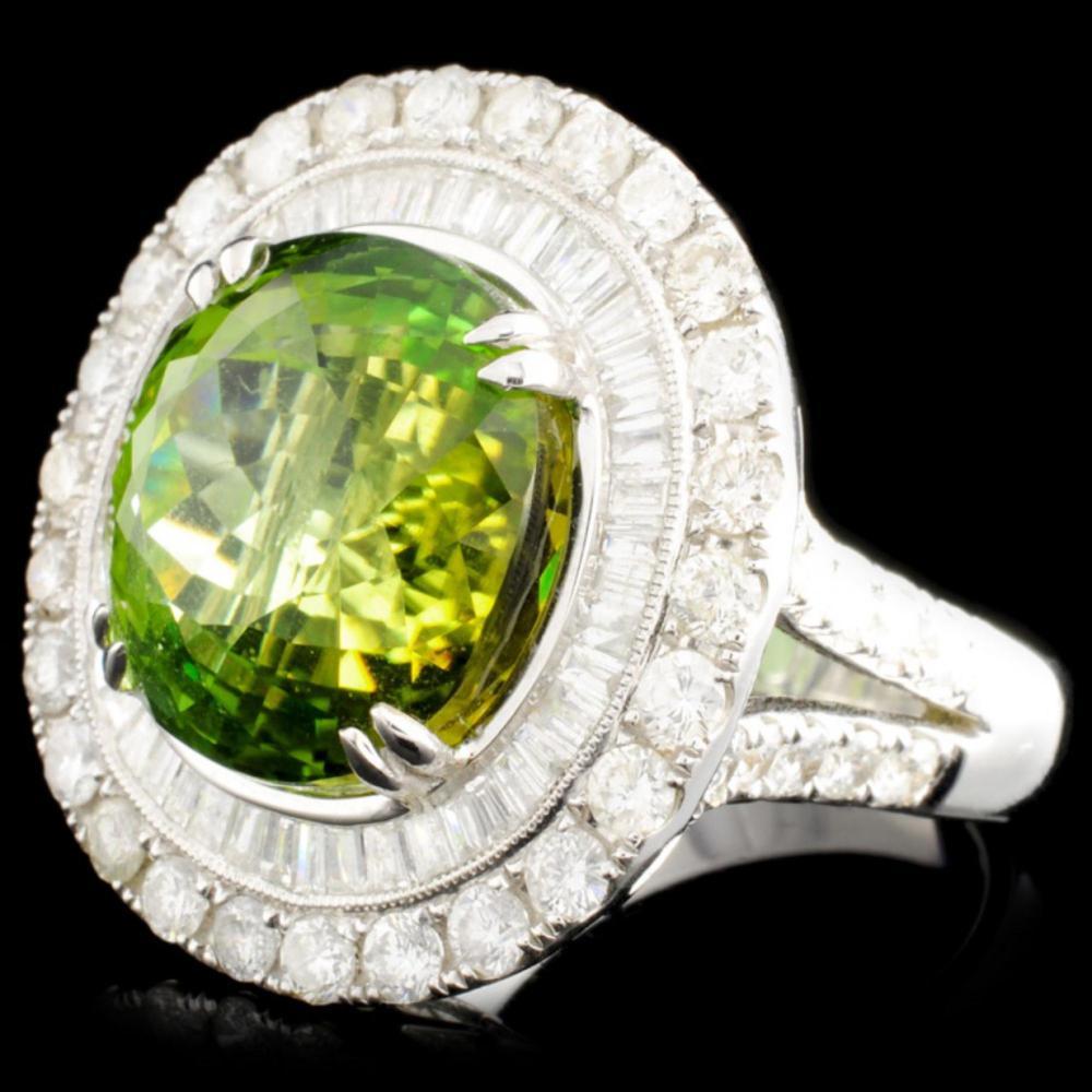 Lot 163: 18K Gold 15.33 Tourmaline & 2.76ctw Diamond Ring