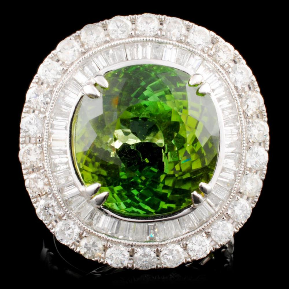 18K Gold 15.33 Tourmaline & 2.76ctw Diamond Ring