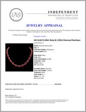Lot 168: `14k Gold 54.00ct Ruby & 2.00ct Diamond Necklace