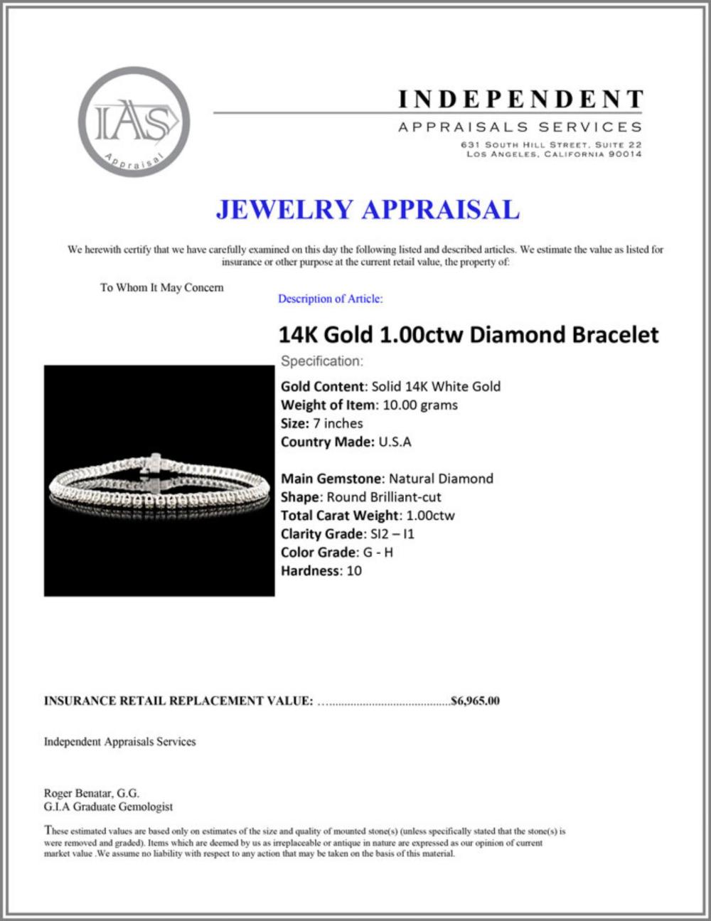 Lot 170: 14K Gold 1.00ctw Diamond Bracelet