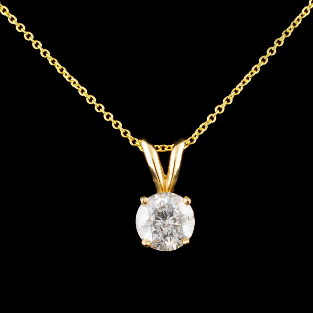 14K Gold 1.01ctw Diamond Pendant