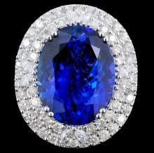 Lot 175: 18K Gold 16.55ct Tanzanite & 2.05ct Diamond Ring