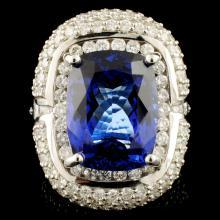 Lot 177: 18K Gold 10.92ct Tanzanite & 3.76ctw Diamond Ring