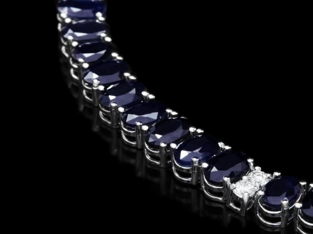 Lot 178: `14k Gold 55.00ct Sapphire & 1.30ct Diamond Neckla