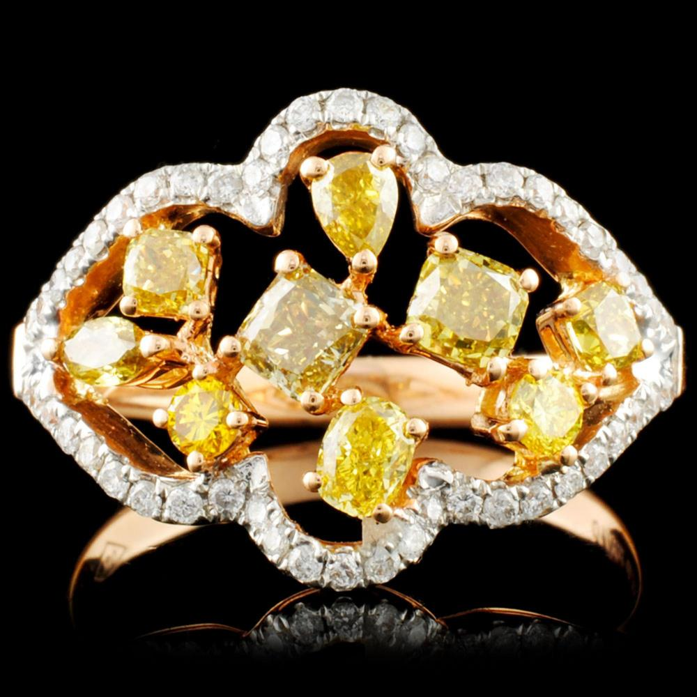 18K Gold 1.34ctw Fancy Diamond Ring