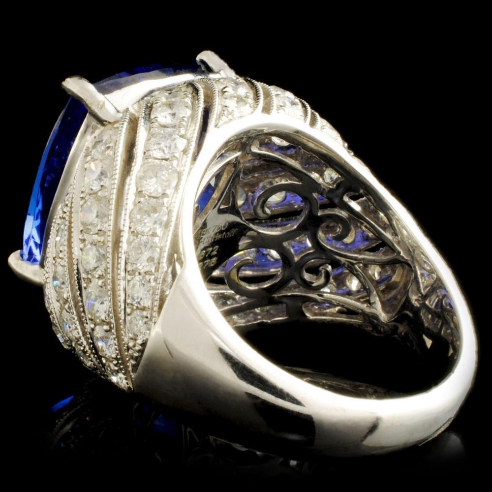 Lot 185: 18K Gold 16.72ct Tanzanite & 2.78ctw Diamond Ring