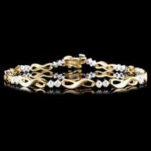 Lot 186: 14K Gold 1.00ctw Diamond Bracelet